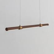 Simple Style Tube Light Third Gear Metal Wood LED Pendant Lighting for Dining Room Restaurant