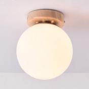 1 Light Globe Flush Ceiling Light Simple Style Opal Glass Ceiling Lamp in White for Bedroom