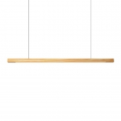 Eye-Caring Linear Pendant Light Modern Wood LED Hanging Light in Beige for Meeting Room Office
