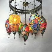 Moroccan Mosaic Multi-Color Chandelier Teardrop 7 Lights Glass Hanging Light for Restaurant Bar