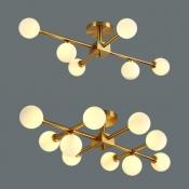 Contemporary Orb Semi Flush Mount Light 6/10 Bulbs Milk Glass Ceiling Light in Gold for Study Room