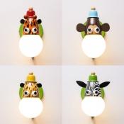 Colorful Animal Wall Light Single Light Cartoon Metal Wall Lamp for Kindergarten Nursing Room