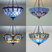 Traditional Tiffany Ceiling Lamp with Baroque/Bead/Flower/Lily Stained Glass Inverted Ceiling Light for Bedroom
