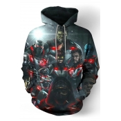 Comic Character 3D Printed Long Sleeve Relaxed Fit Grey Drawstring Pullover Hoodie