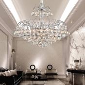 Spray Crystal Ball Hanging Chandelier Modern Sparkling Chandelier Light in Silver for Living Room