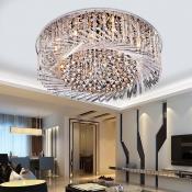 Swirl Crystal Glass Flush Mount Light Fixture Modern Sparkling Close to Ceiling Light for Bedroom Living Room