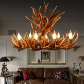 Brown Antler Pendant Lighting with Candle Design Country Style Resin Chandelier