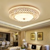 Modern Round Flush Ceiling Light Clear Crystal Led Indoor Ceiling Lamp for Living Room in Third Gear