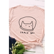 Simple Letter SPACE BOL Print Short Sleeve Loose T-Shirt for Girl