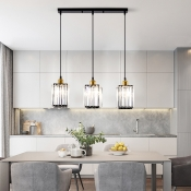 Modern Linear Pendant Lighting with Rectangle Clear Crystal Shade Triple Light Dining Room Lighting