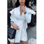 Womens Elegant Plain White Shawl Collar Cold Shoulder Ruffle Long Sleeve Faux Pearl Embellished Wrap Blazer Dress