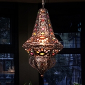 Antique Copper Bohemia Pendant Lighting with Lantern Shade 1 Light Metal Hanging Ceiling Light with Crystal Beads