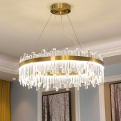 Rectangle-Cut Crystal Round Chandelier Lighting Postmodern Gold 19.5