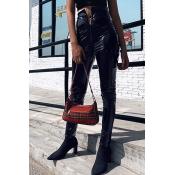 Black Trendy Cool Girls' High Waist Zipper Front Leather Long Skinny Pants