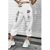 Hip Hop White Elastic Waist Drawstring Letter FIGHT NIGHT Graphic Cuffed Ankle Oversize Sweatpants for Female
