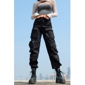 Cool Casual Mid Rise Utility Cuffed Ankle Black Baggy Cargo Pants for Women