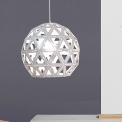 Globe Shaped Pendant Lighting Fixture Modern Style 1 Light White Pendulum Light for Dining Room