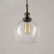 Clear Glass Globe Mini Pendant Light in Antique Brass for Kitchen Island Foyer