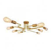 Industrial Edison Bulb Wrought Iron 8 Light LED Semi Flush Ceiling Light in Bronze