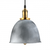 Industrial Dome Hanging Pendant in Old Silver for Kitchen Pool Table Restaurant