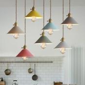 Multi Color Pendant Light Macaroon Metal 1 Light Hanging Light in Gray