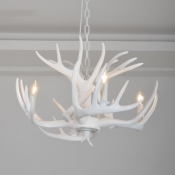 4 Light Antler Hanging Light Lodge Designers Style White Resin Suspension Light for Living Room