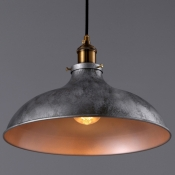 Gun Metal Grey 1 Pendant Light in Dome Shade for Restaurant Bar Kitchen Counter