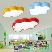 Cartoon Modern Cloud Flush Light Yellow Acrylic LED Ceiling Light for Nursing Room Corridor 19.5