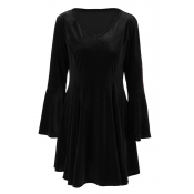 Whole Colored Bell-Sleeve V-Neck Zipper Back Gathered Waist Mini A-Line Dress for Pretty Ladies