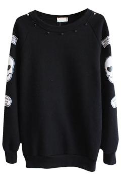 Beaded Round Neck Sweatshirt with Skull Print Sleeve