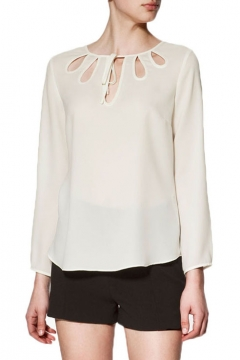 Plain Long Sleeve Chiffon Top with Cutouts