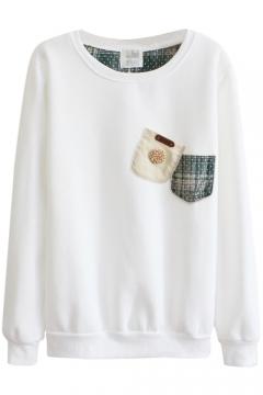 Round Neck Applique Pockets Long Sleeve Sweatshirt