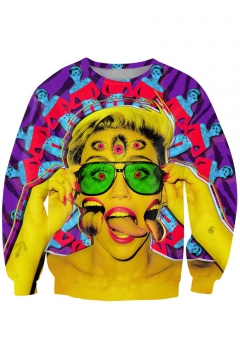 Freaky Miley Cyrus Print Purple Sweatshirt