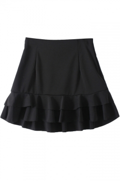 Black High Waist Tiered Ruffle Hem A-line Mini Skirt