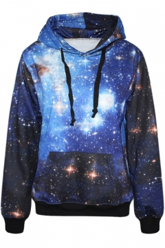 Blue Galaxy Print Hoodie