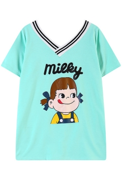 Cartoon Letter Litter Girl Print Stripe V-Neck Short Sleeve T-Shirt