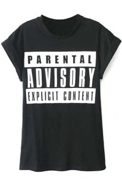 Black Short Sleeve It Letters Print T-Shirt
