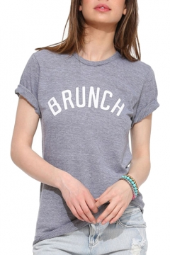 Gray Short Sleeve Brunch Print T-Shirt