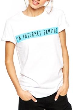 White Short Sleeve Letters&Blue Square T-Shirt
