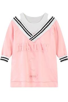 Striped V-Neck Half Sleeve Cold Shoulder Embossed Letter Sweatshirt