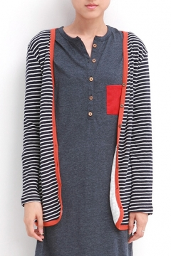 England Preppy Style Stripe Button Fly Long Sleeve Cardigan