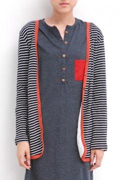England Preppy Style Stripe Button Fly Long Sleeve Cardigan