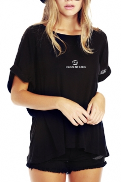 Black Short Sleeve Roll Cuff Cancer T-Shirt