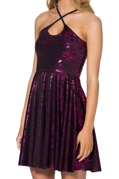 Plum Geometric Pattern Gilding Shining Slip A-line Dress