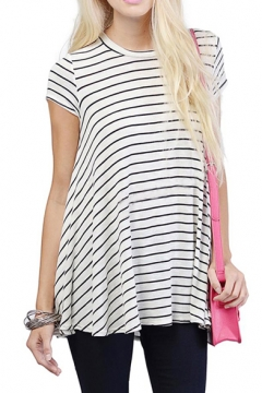 A-Line Round Neck Short Sleeve Fitted Loose T-Shirt