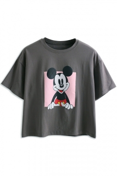 Cartoon Mouse  Print Loose Short Sleeve Tee