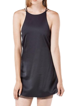 Star Cutout Back Spaghetti Style Black Mini Dress