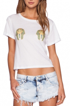 White Short Sleeve Egyptian Pharaoh Print Crop T-Shirt