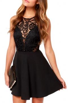 Black Lace Hollow Sleeveless Top A-line Mini Dress