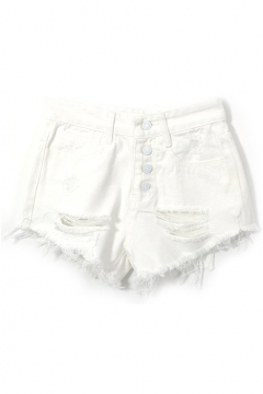 White Denim Four Button Front Ripped Shorts